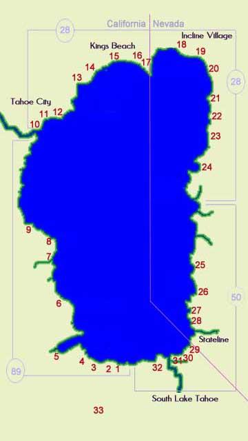Lake Tahoe Beaches Map - AboutLakeTahoe.com