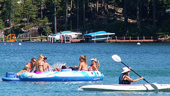 People enjoying Meeks Bay on Lake Tahoe