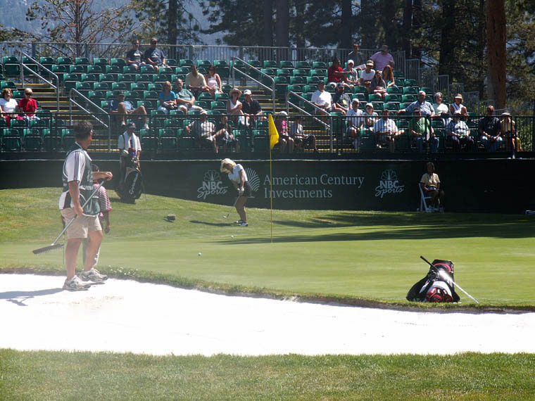 Big Break winner Danielle Aimee chips onto the ninth green.