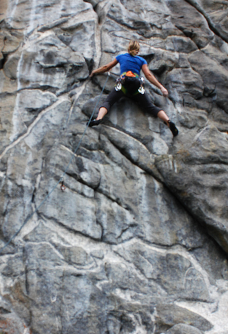 sport climbing, out of focus