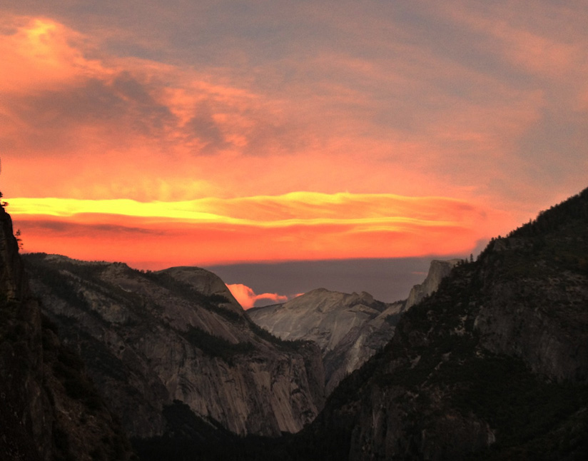 sunset over tenaya canyon