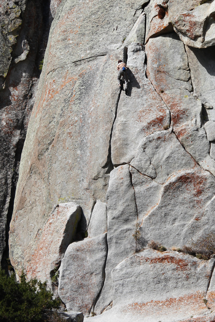 climber fee soloing a route at city of rocks