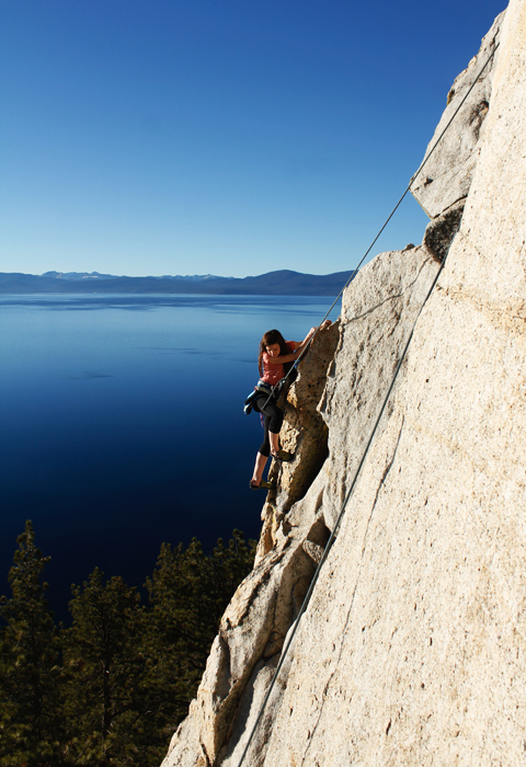 climbing over lake tahoe